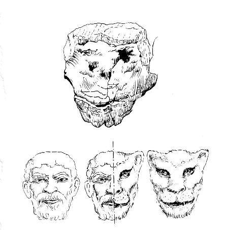 Half Human Half Animal Drawing Sculptures of human heads